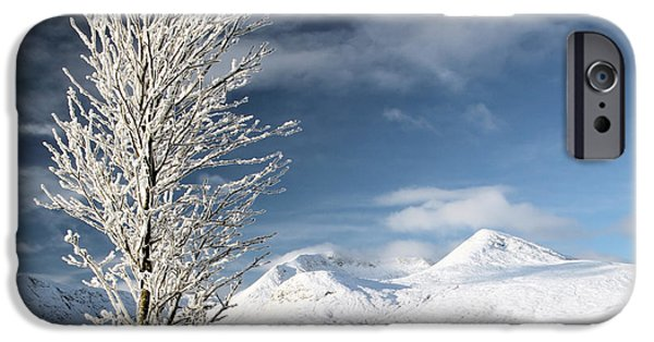 Snow Scene iPhone Cases - Glencoe winter landscape iPhone Case by Grant Glendinning