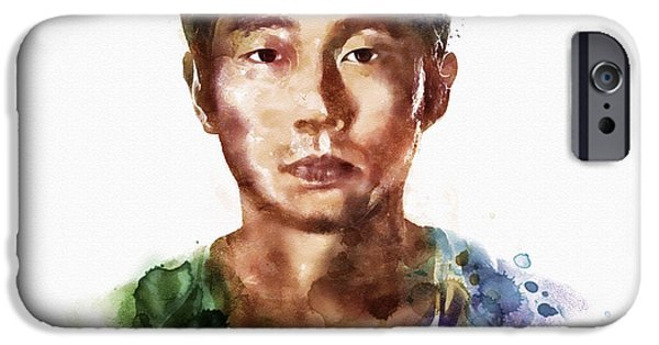 Marian iPhone Cases - Glenn Rhee watercolor portrait iPhone Case by Marian Voicu