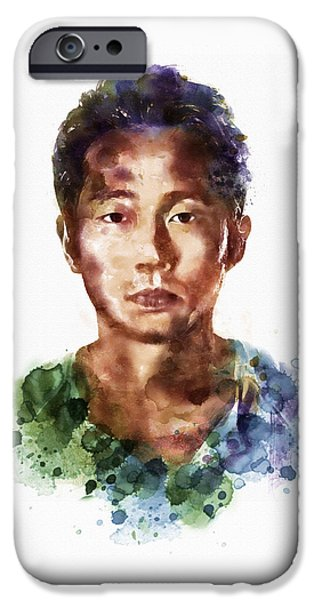 Face Mixed Media iPhone Cases - Glenn Rhee watercolor portrait iPhone Case by Marian Voicu