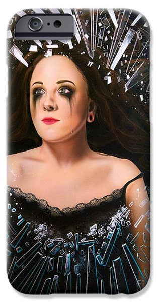 Tear Paintings iPhone Cases - Glimmer iPhone Case by Sandi Baker