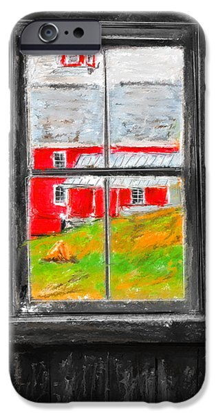 Cabin Window iPhone Cases - Glimpse of Country Life- Red Barn Art iPhone Case by Lourry Legarde