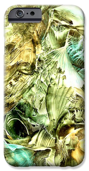 Must Art Paintings iPhone Cases - Glimpse of new gold iPhone Case by Cristina Handrabur