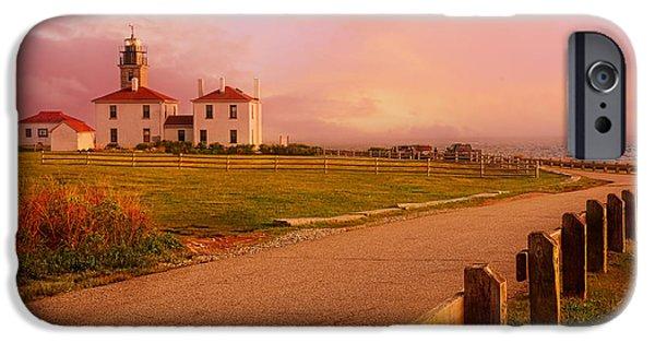New England Lighthouse iPhone Cases - Glisten- Beavertail Park Rhode Island iPhone Case by Lourry Legarde