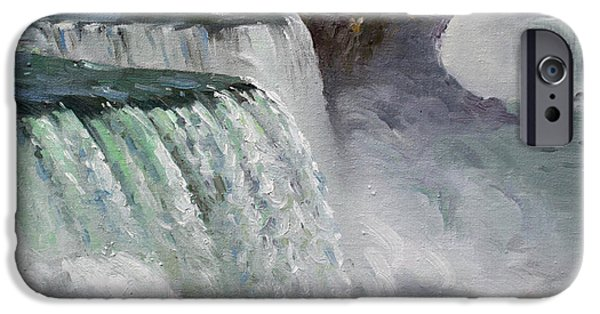 State Park iPhone Cases - Gloomy Day at Niagara Falls iPhone Case by Ylli Haruni