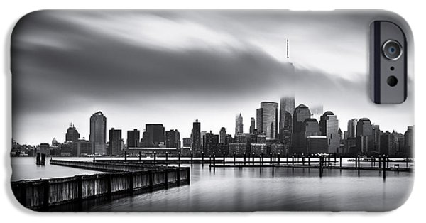 Manhatan iPhone Cases - Gloomy Day for the Financial District iPhone Case by Mihai Andritoiu