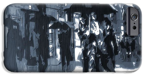 Raincoat iPhone Cases - Gloomy Day In The City iPhone Case by Dan Sproul