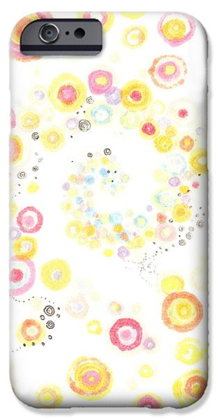 Disc Drawings iPhone Cases - Glorious Cycle iPhone Case by Regina Valluzzi