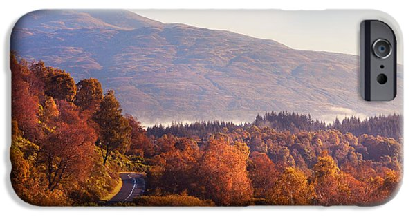Fog Mist iPhone Cases - Glorious Fall Colors in Trossachs National Park. Scotland  iPhone Case by Jenny Rainbow