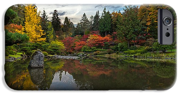 Japanese Garden iPhone Cases - Glorious Fall Gardens iPhone Case by Mike Reid