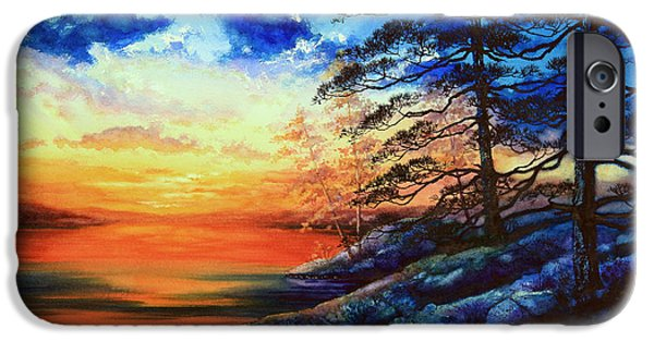 Tree Art Print iPhone Cases - Glorious Lake Sunset iPhone Case by Hanne Lore Koehler