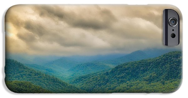 Smokey Mountains Paintings iPhone Cases - Glorious Mountains iPhone Case by Donna Murray