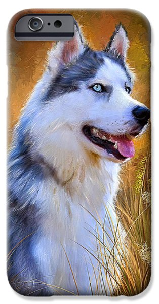 Husky iPhone Cases - Glorious Pride - Siberian Husky Portrait iPhone Case by Lourry Legarde