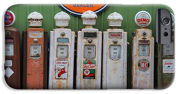 Shed iPhone Cases - Glory Days of Gas Pumps iPhone Case by Gerald DeBoer