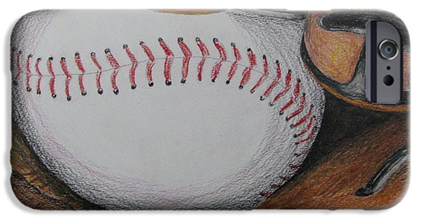 Baseball Glove Drawings iPhone Cases - Glove and Ball Colored Pencil Sketch iPhone Case by Rob Monte