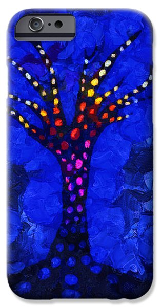 Glow tree blue iPhone Case by Pixel Chimp