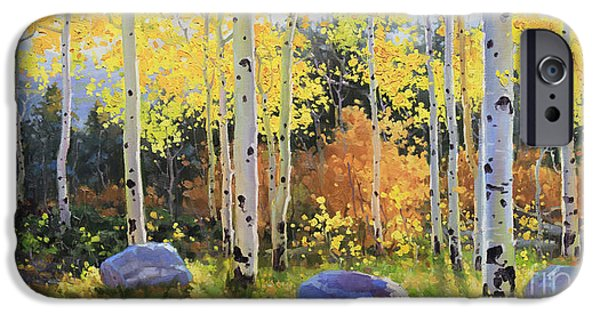 Morning Light Paintings iPhone Cases - Glowing Aspen  iPhone Case by Gary Kim