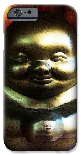 Buddha Art iPhone Cases - Glowing Buddha - Zen Art By Sharon Cummings iPhone Case by Sharon Cummings
