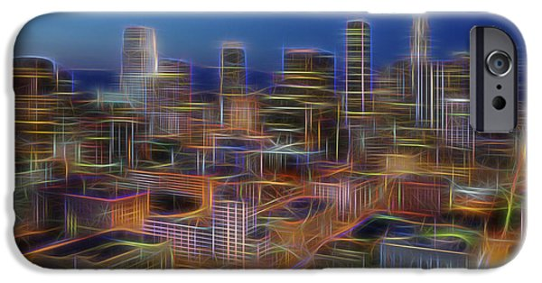 Night Angel iPhone Cases - Glowing City iPhone Case by Kelley King