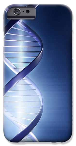 Structures iPhone Cases - Glowing DNA strand iPhone Case by Johan Swanepoel