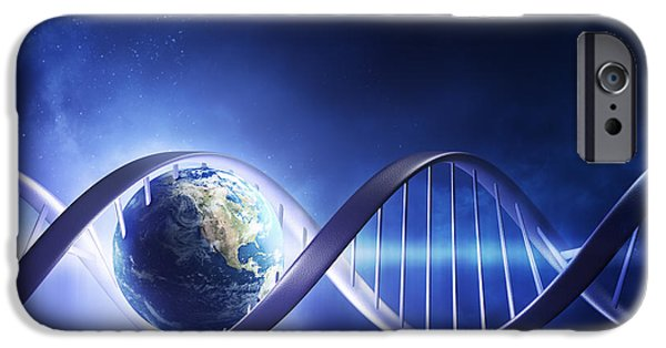 Biology iPhone Cases - Glowing earth DNA strand iPhone Case by Johan Swanepoel