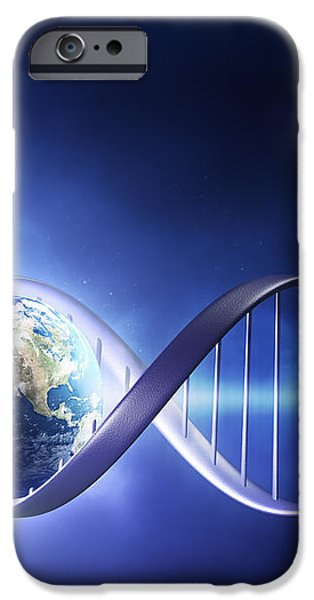 Glowing earth DNA strand iPhone Case by Johan Swanepoel