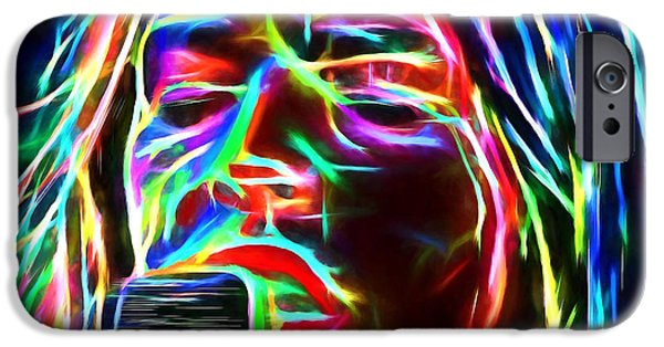 David iPhone Cases - Glowing Gilmour Pink Floyd iPhone Case by Yury Malkov