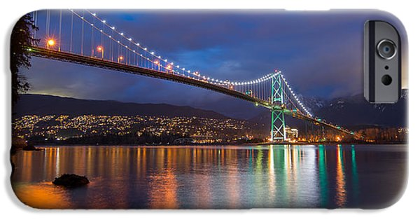 Burrard Inlet iPhone Cases - Glowing Grouse Mountain iPhone Case by James Wheeler