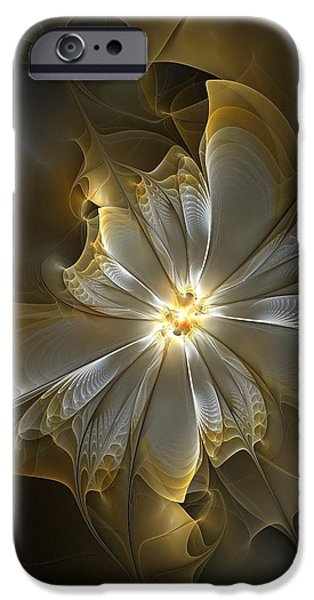 Best Sellers -  - Floral Digital Art Digital Art iPhone Cases - Glowing in Silver and Gold iPhone Case by Amanda Moore