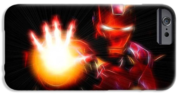 Fury iPhone Cases - Glowing Iron Man iPhone Case by Dan Sproul