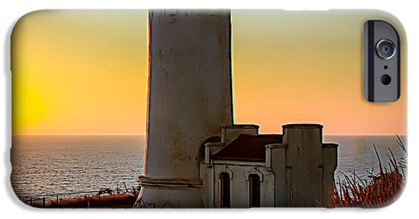 Haybale iPhone Cases - Glowing Lighthouse iPhone Case by Robert Bales