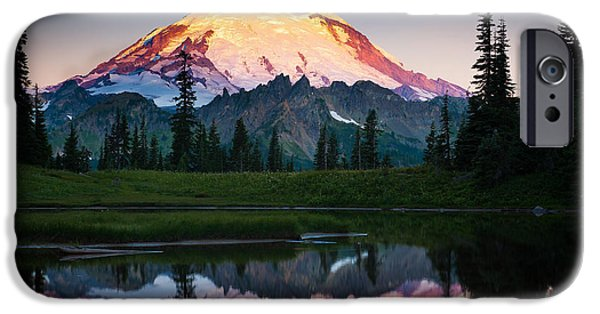 Majestic iPhone Cases - Glowing Peak iPhone Case by Inge Johnsson