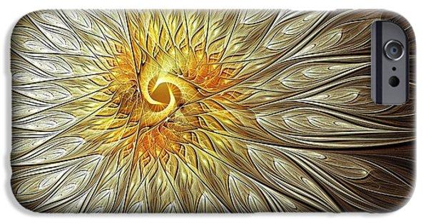 Floral Digital Art Digital Art iPhone Cases - Glowing Petals iPhone Case by Amanda Moore