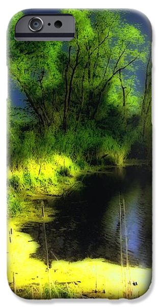 Glowing Pond on a Foggy Night iPhone Case by Ann Almquist