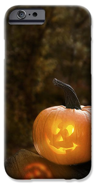 Jack O Lantern iPhone Cases - Glowing Pumpkin iPhone Case by Amanda And Christopher Elwell