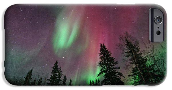 Northern Lights iPhone Cases - Glowing Skies Textured iPhone Case by Priska Wettstein