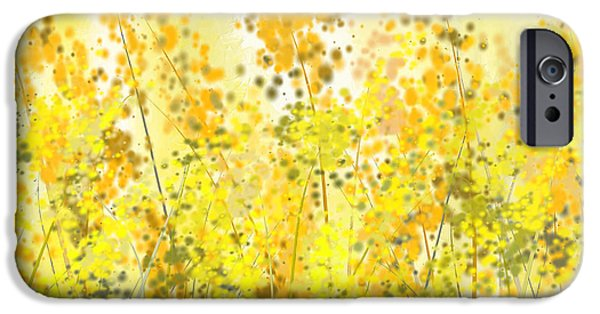 Green And Yellow Abstract iPhone Cases - Glowing Spring- Yellow Abstract Art iPhone Case by Lourry Legarde