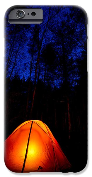 Camping iPhone Cases - Glowing Tent iPhone Case by Cale Best
