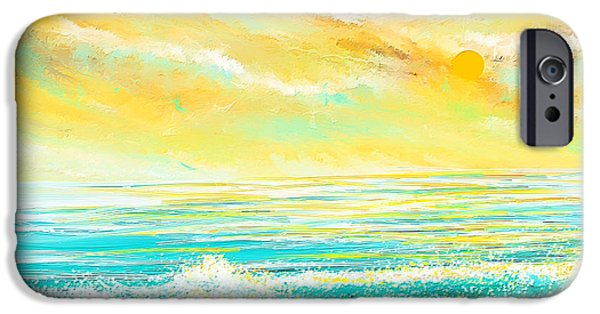 Abstract Seascape iPhone Cases - Glowing Waves - Seascapes Sunset Abstract iPhone Case by Lourry Legarde