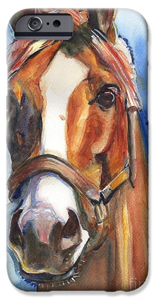 Horse Racing iPhone Cases - Horse Painting of California Chrome Go Chrome iPhone Case by Maria