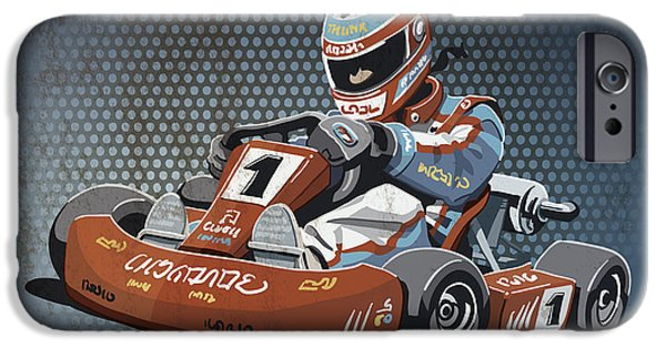 Racing iPhone Cases - Go-Kart Racing Grunge Color iPhone Case by Frank Ramspott