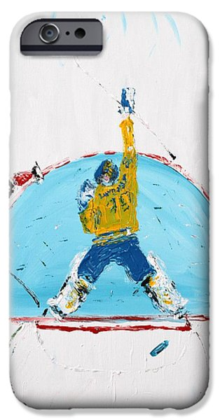 Canada Sports Paintings iPhone Cases - Goalden iPhone Case by Mark Stiles