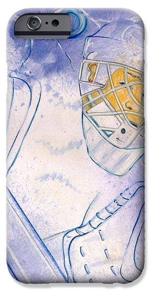 Hockey Paintings iPhone Cases - Goalie Missed iPhone Case by Rosemary Hayes