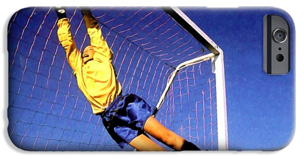 Goaltender Paintings iPhone Cases - Goalkeeper catches the ball iPhone Case by Lanjee Chee
