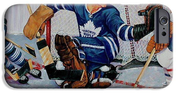 Hockey Paintings iPhone Cases - Goaltender iPhone Case by Derrick Higgins
