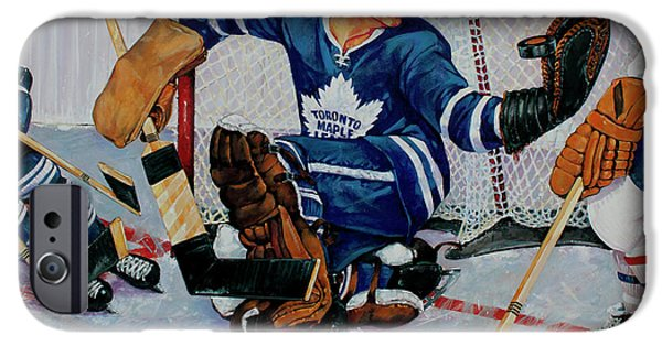 Hockey Paintings iPhone Cases - Goaltender iPhone Case by Derrick Higgins