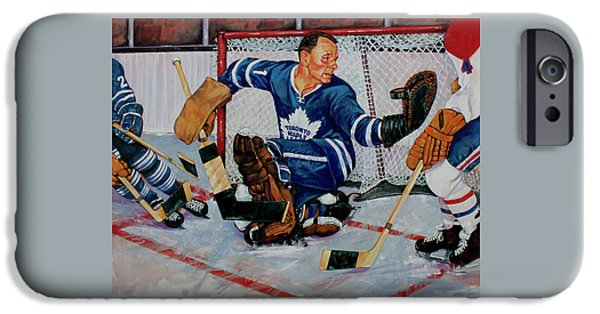Stanley Cup Paintings iPhone Cases - Goaltender iPhone Case by Derrick Higgins