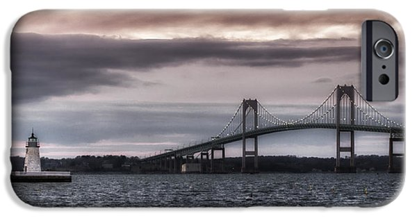 Ocean Sunset iPhone Cases - Goat Island Lighthouse and Newport Bridge iPhone Case by Joan Carroll