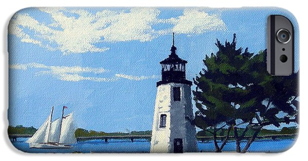 Best Sellers -  - Sand Castles iPhone Cases - Goat Island Lighthouse Newport Rhode Island iPhone Case by Christine Hopkins