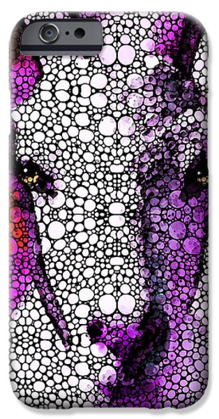 Veterinary iPhone Cases - Goat - Pinky - Stone Rockd Art By Sharon Cummings iPhone Case by Sharon Cummings