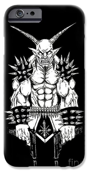 Religious Drawings iPhone Cases - Goatlord Vengeance Black iPhone Case by Alaric Barca
